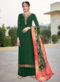 Beautiful Green Satin Embroidered Work Designer Palazzo Suit