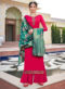 Amazing Pink Satin Embroidered Work Designer Palazzo Suit