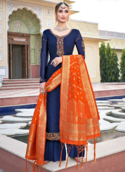 Lovely Navy Blue Satin Embroidered Work Designer Palazzo Suit