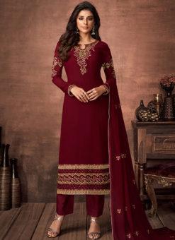 Partywear Designer Embroidered Maroon Faux Georgette Salwar Suit