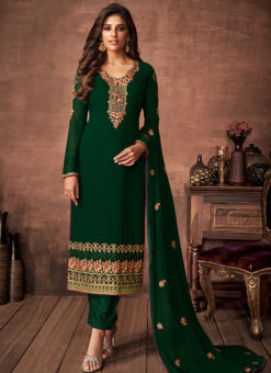 Partywear Designer Embroidered Green Faux Georgette Salwar Suit