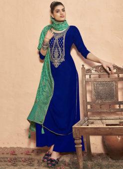 Blue Velvet Embroidered Work Party Wear Designer Salwar Suit