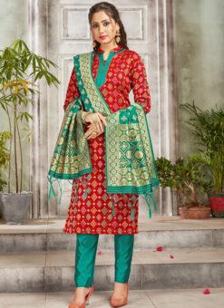 Red Banarasi Silk Weaving Party Wear Churidar Suit