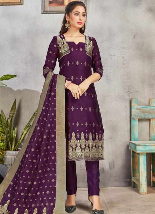 Purple Banarasi Silk Weaving Party Wear Churidar Suit
