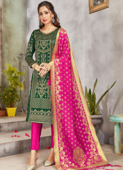 Green Banarasi Silk Weaving Party Wear Churidar Suit