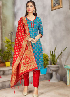Blue Banarasi Silk Weaving Party Wear Churidar Suit