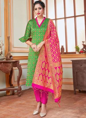 Green Banarasi Silk Zari Weaving Party Wear Churidar Suit