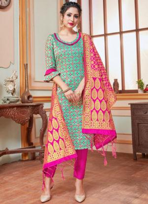 Turquoise Blue Banarasi Silk Zari Weaving Party Wear Churidar Suit