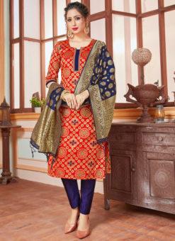 Red Banarasi Silk Zari Weaving Party Wear Churidar Suit