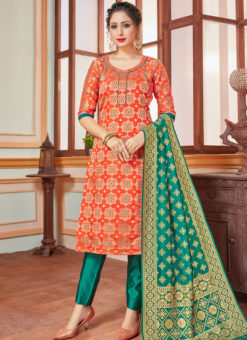 Orange Banarasi Silk Zari Weaving Party Wear Churidar Suit