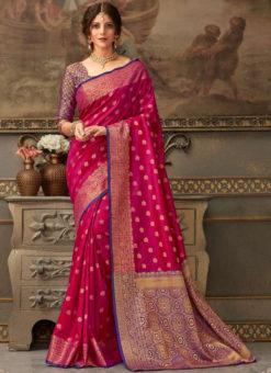 Dark Pink Handloom Silk Zari Weaving Traditional Saree