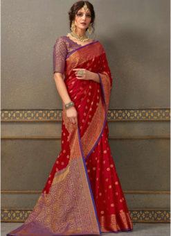 Red Handloom Silk Zari Weaving Traditional Saree
