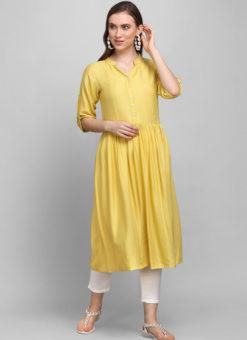 Yellow Rayon Cotton Button Casual Wear Kurti