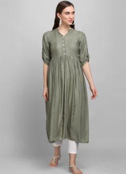 Olive Grey Rayon Cotton Button Casual Wear Kurti