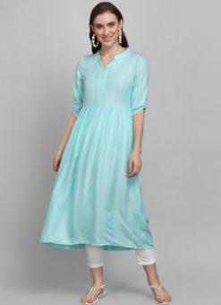 Sky Blue Rayon Cotton Button Casual Wear Kurti