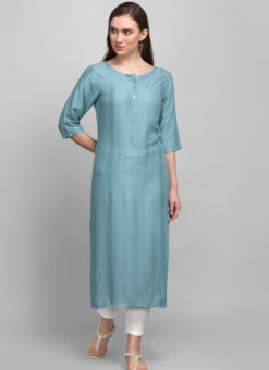 Blue Rayon Cotton Button Casual Wear Kurti