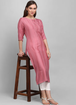 Dusty Pink Rayon Cotton Button Causal Wear Kurti