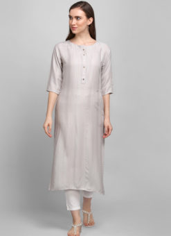 Light Grey Rayon Cotton Button Casual Wear Kurti