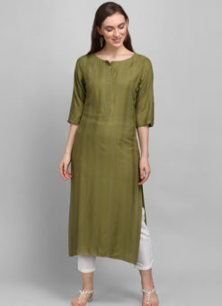 Mehendi Green Rayon Cotton Button Casual Wear Kurti