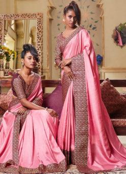 Pink Art Silk Patch Border Party Wear Designer Saree
