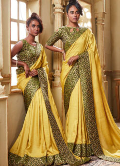 Yellow Art Silk Patch Border Party Wear Designer Saree