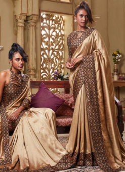 Beige Art Silk Patch Border Party Wear Designer Saree