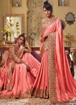 Peach Art Silk Patch Border Party Wear Designer Saree