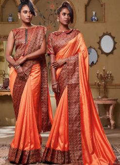 Orange Art Silk Patch Border Party Wear Designer Saree