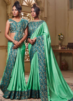 Sea Green Art Silk Patch Border Party Wear Designer Saree
