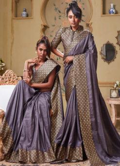 Purple Art Silk Patch Border Party Wear Designer Saree