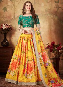 Amazing Yellow And Green Orgenza Digital Printed Designer Lehenga Choli