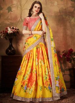 Elegant Pink And Yellow Orgenza Digital Printed Designer Lehenga Choli