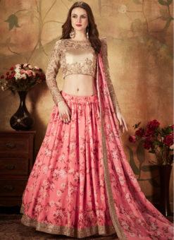 Classic Beige And Pink Orgenza Digital Printed Designer Lehenga Choli