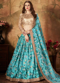 Alluring Blue And Beige Orgenza Digital Printed Designer Lehenga Choli