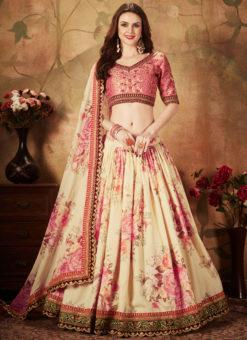 Amazing Pink And Cream Orgenza Digital Printed Designer Lehenga Choli