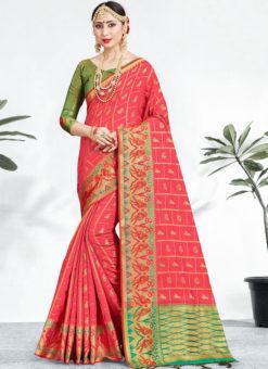 Alluring Pink Banarasi Silk Zari Weaving Wedding Saree