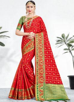 Charming Red Banarasi Silk Zari Weaving Wedding Saree