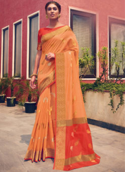 Lovely Orange Cotton Handloom Weaving Casual Saree