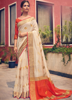 Classic Off White Cotton Handloom Weaving Casual Saree