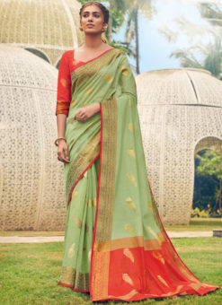 Graceful Green Cotton Handloom Weaving Casual Saree