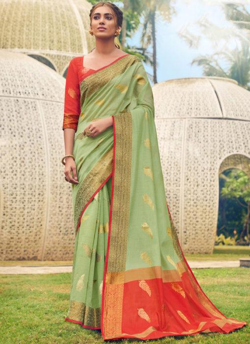 Graceful Green Cotton Handloom Weaving Casual Saree