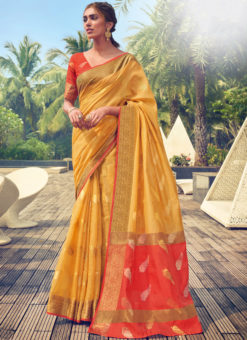 Jazzy Yellow Cotton Handloom Weaving Casual Saree