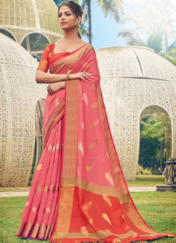 Elegant Pink Cotton Handloom Weaving Casual Saree