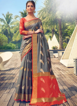 Wonderful Grey Cotton Handloom Weaving Casual Saree
