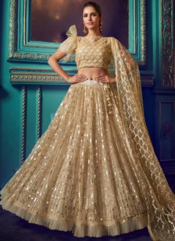 Amazing Beige Net Zari Work Designer Party Wear Lehenga Choli
