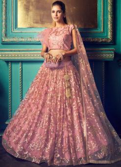 Lovely Dusty Pink Net Zari Work Party Wear Lehenga Choli