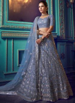 Elegant Blue Net Zari Work Party Wear Lehenga Choli
