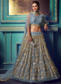 Classic Blue Net Zari Work Party Wear Lehenga Choli
