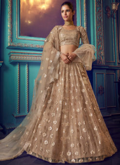 Charming Beige Net Zari Work Party Wear Lehenga Choli