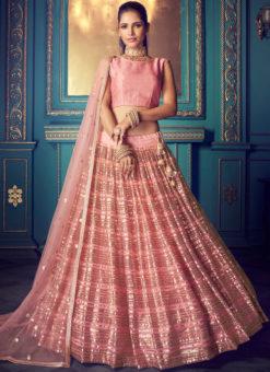 Excellent Pink Net Zari Work Party Wear Lehenga Choli